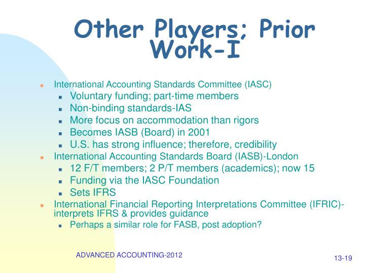 Other Players; Prior Work-I
