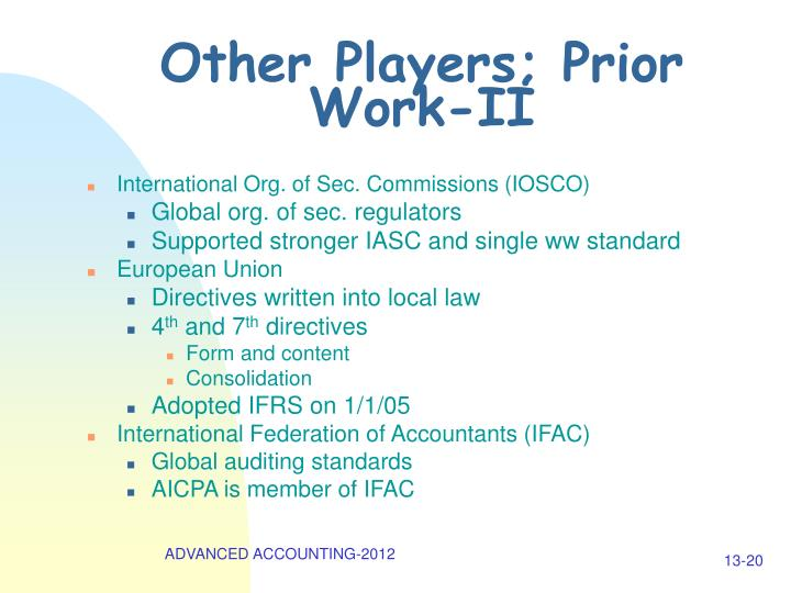 Other Players; Prior Work-II