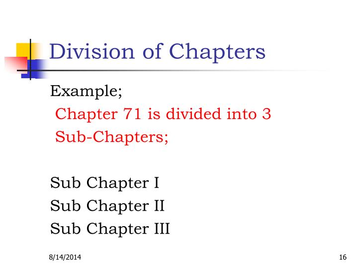 Division of Chapters