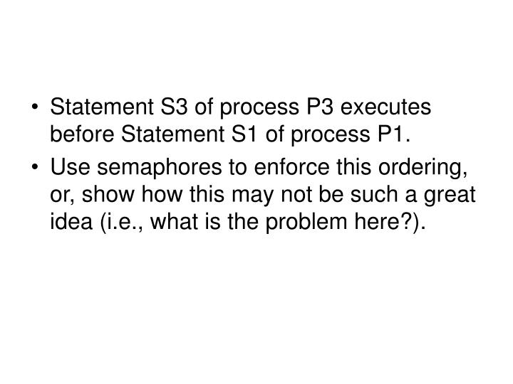 Statement S3 of process P3 executes before Statement S1 of process P1.