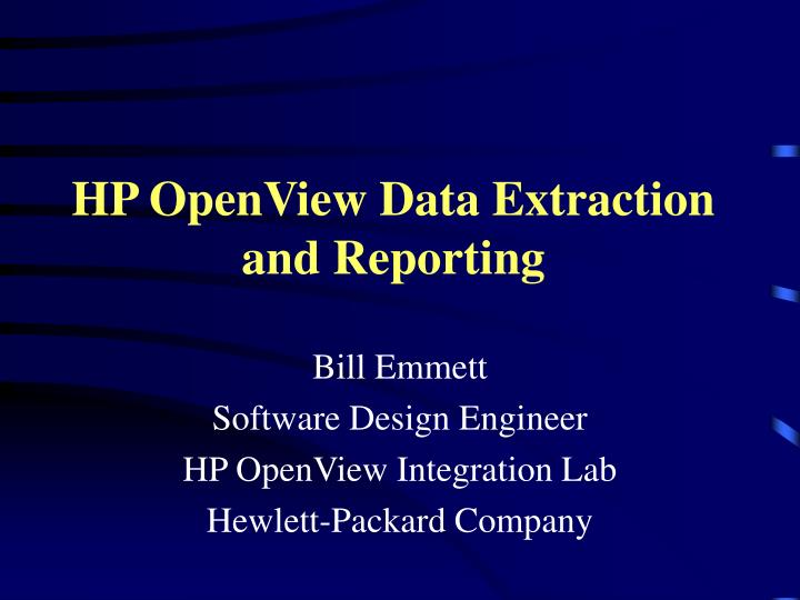 hp openview data extraction and reporting n.
