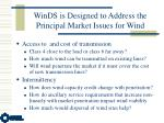 winds is designed to address the principal market issues for wind