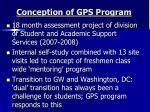 conception of gps program