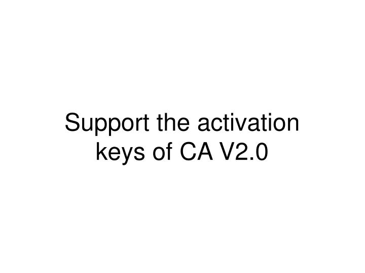 Support the activation keys of CA V2.0
