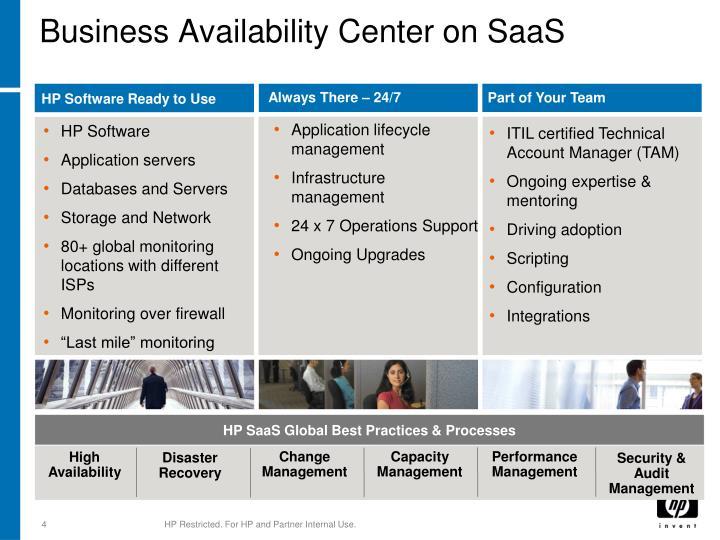 Business availability center on saas