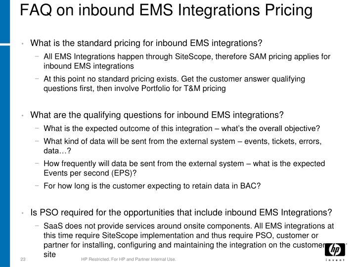 FAQ on inbound EMS Integrations Pricing
