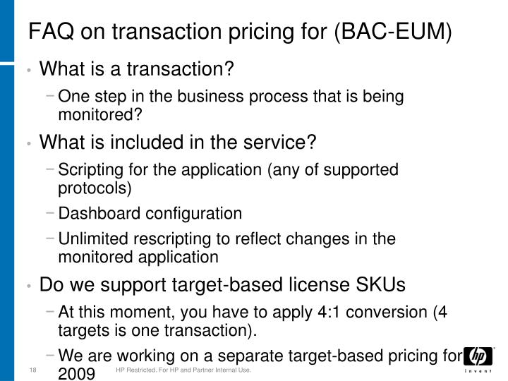 FAQ on transaction pricing for (BAC-EUM)