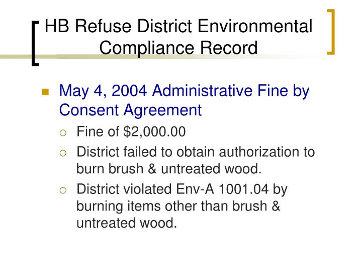 Hb refuse district environmental compliance record1