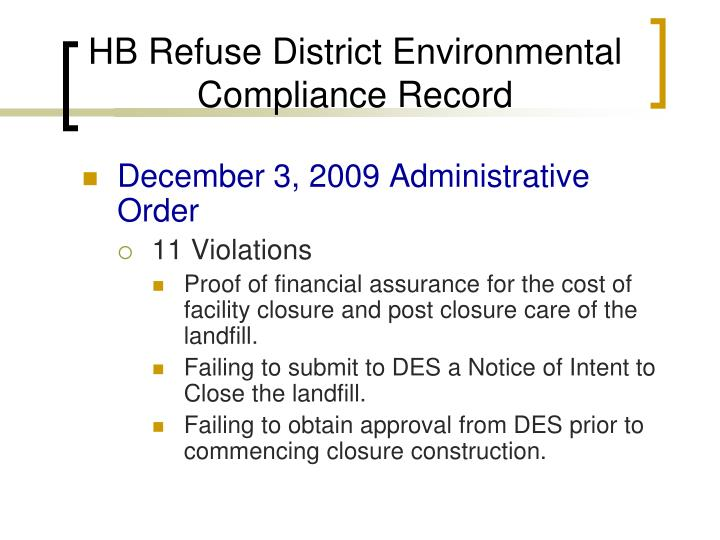 HB Refuse District Environmental Compliance Record