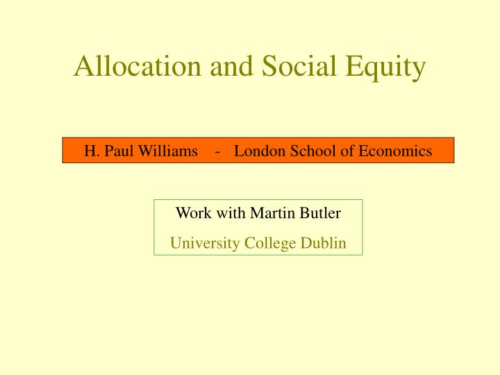 allocation and social equity n.