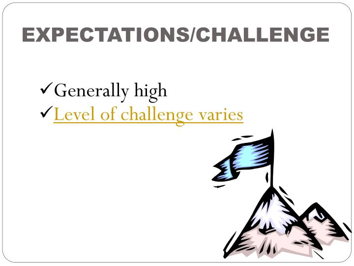 EXPECTATIONS/CHALLENGE