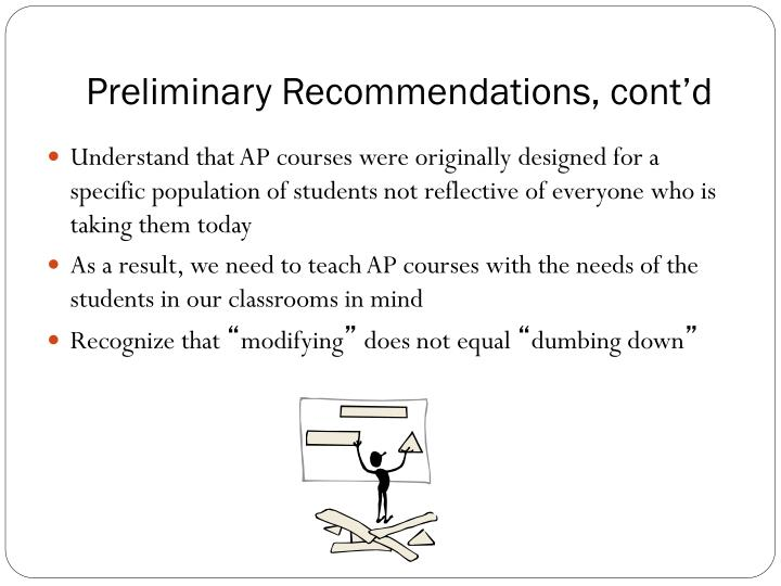 Preliminary Recommendations, cont'