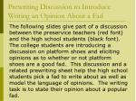 prewriting discussion to introduce writing an opinion about a fad