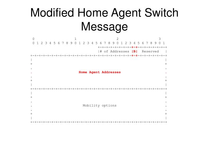 Modified Home Agent Switch Message