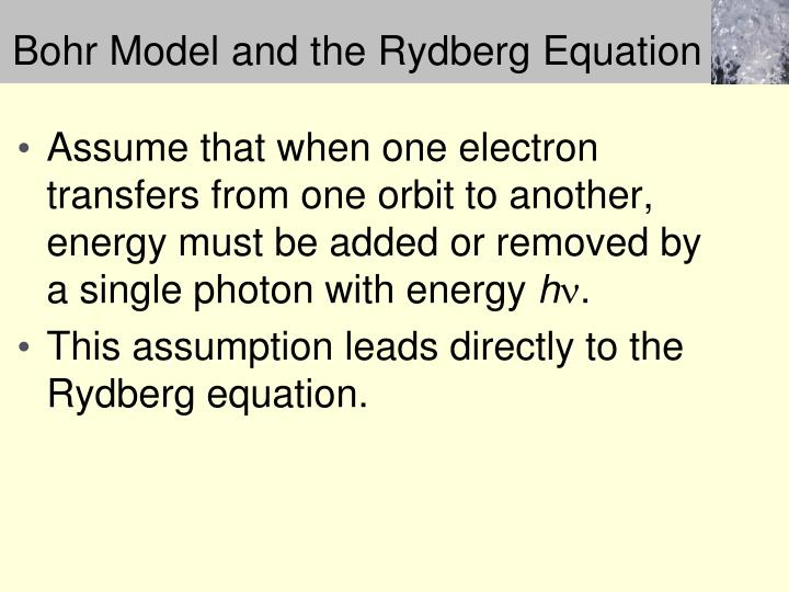 Bohr Model and the Rydberg Equation