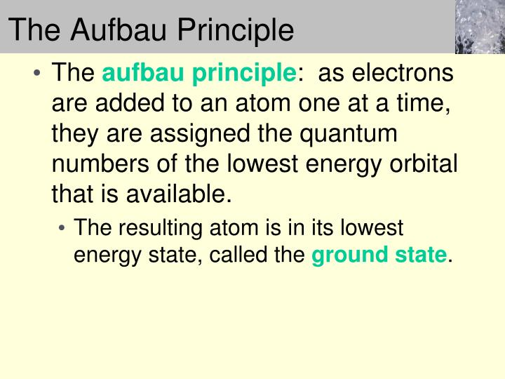 The Aufbau Principle