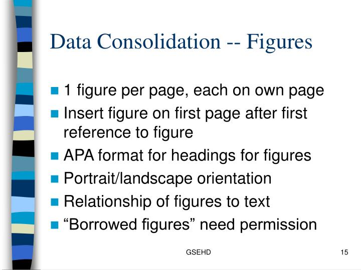 Data Consolidation -- Figures