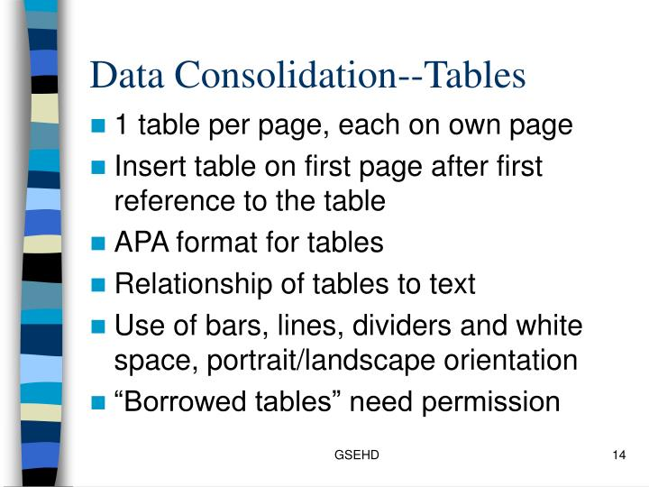 Data Consolidation--Tables