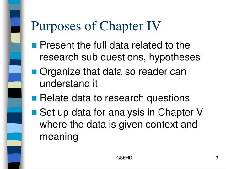 Purposes of chapter iv