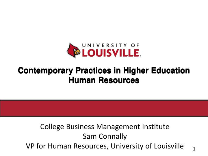 contemporary practices in higher education human resources n.