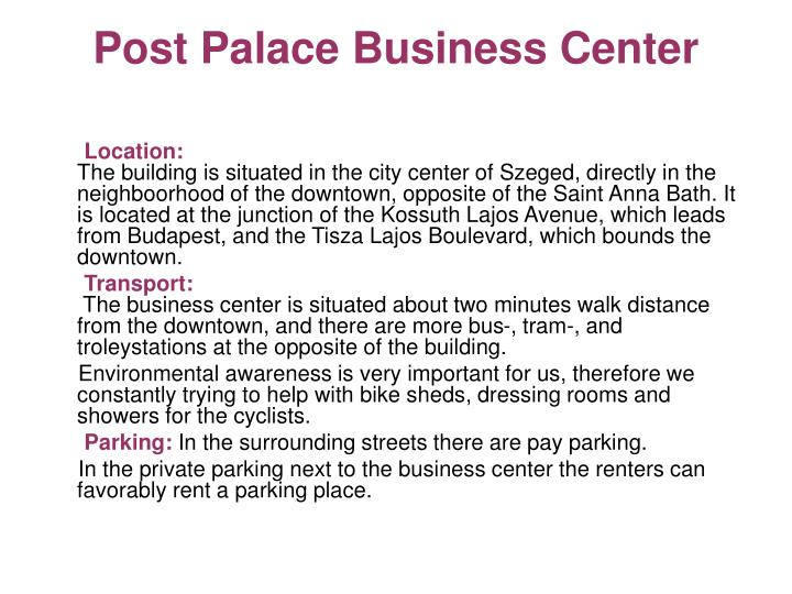 Post Palace Business Center