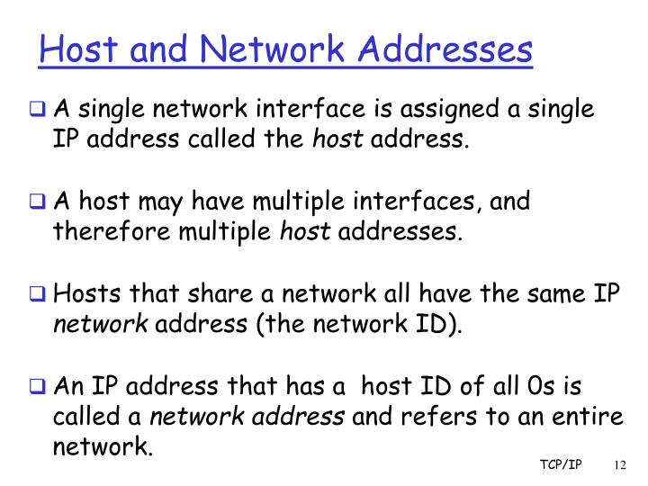 Host and Network Addresses