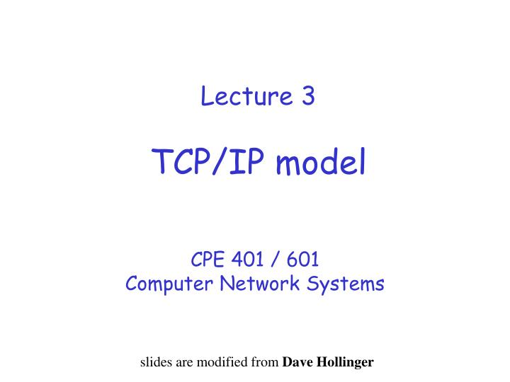 Lecture 3 tcp ip model