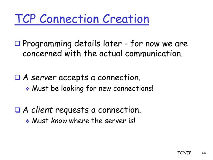 TCP Connection Creation