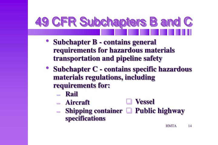 49 CFR Subchapters B and C