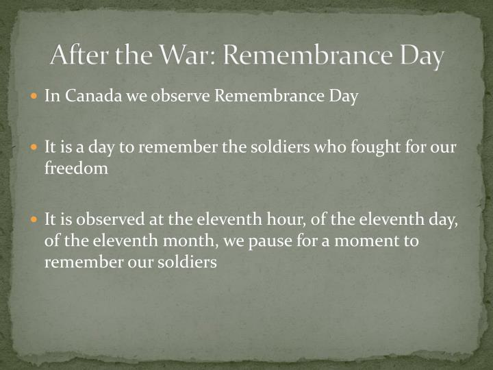 After the War: Remembrance Day
