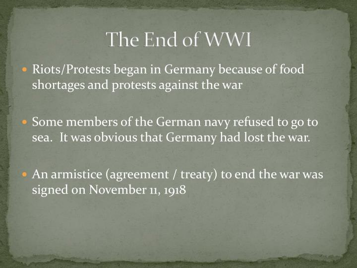 The End of WWI