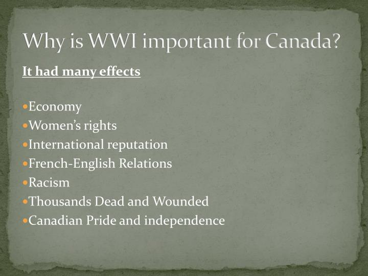Why is WWI important for Canada?