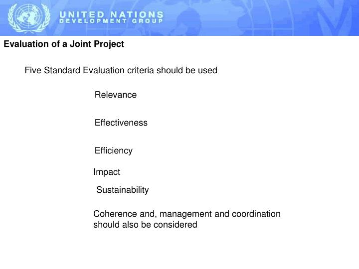 Evaluation of a Joint Project