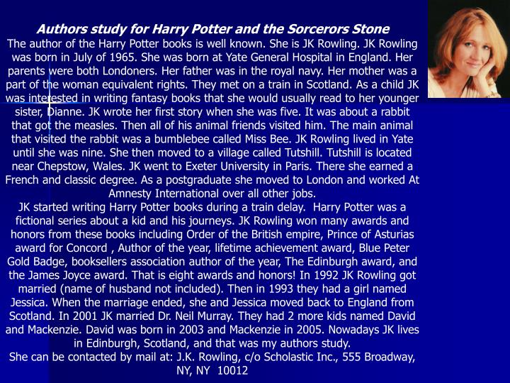 Authors study for Harry Potter and the Sorcerors Stone