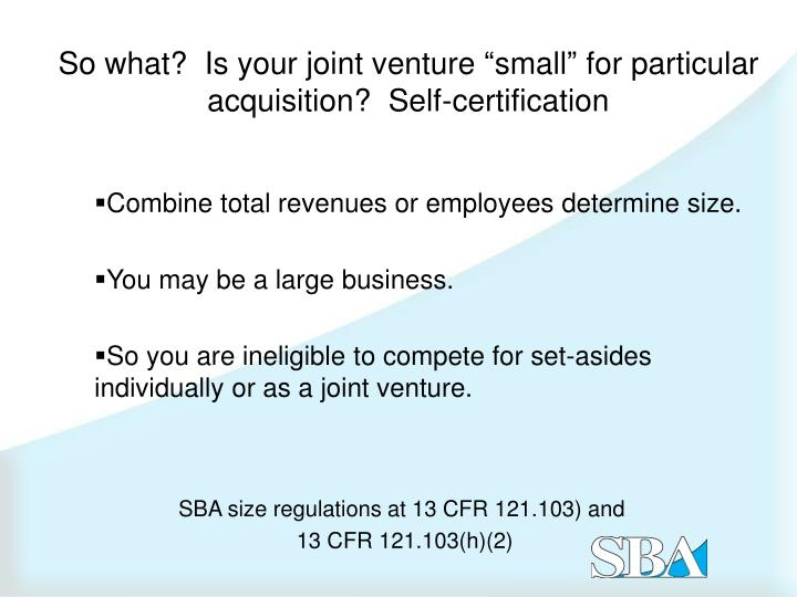jpint ventures and standard setting essay On friday, steven wrote about the framework of the new sba small business mentor-protégé programas part of this significant program addition, sba's final rule includes details about the requirements a small business joint venture must satisfy in order to be qualified to perform a small business set-aside.