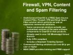 firewall vpn content and spam filtering