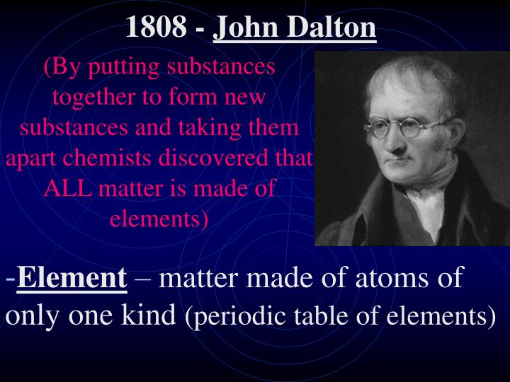 (By putting substances together to form new substances and taking them apart chemists discovered that ALL matter is made of elements)