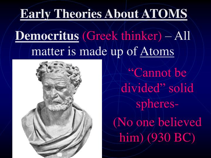 Early theories about atoms