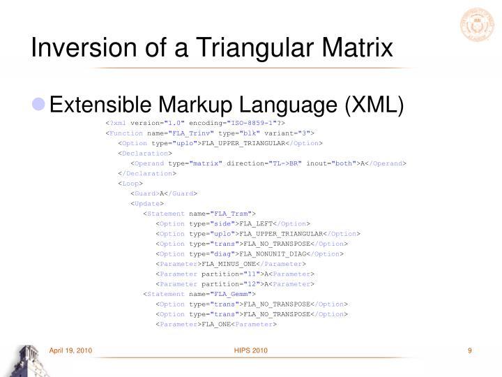 Inversion of a Triangular Matrix