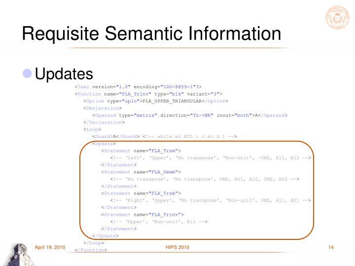 Requisite Semantic Information