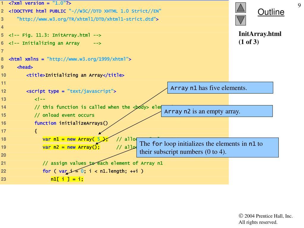 PPT - Chapter 11 - JavaScript: Arrays PowerPoint