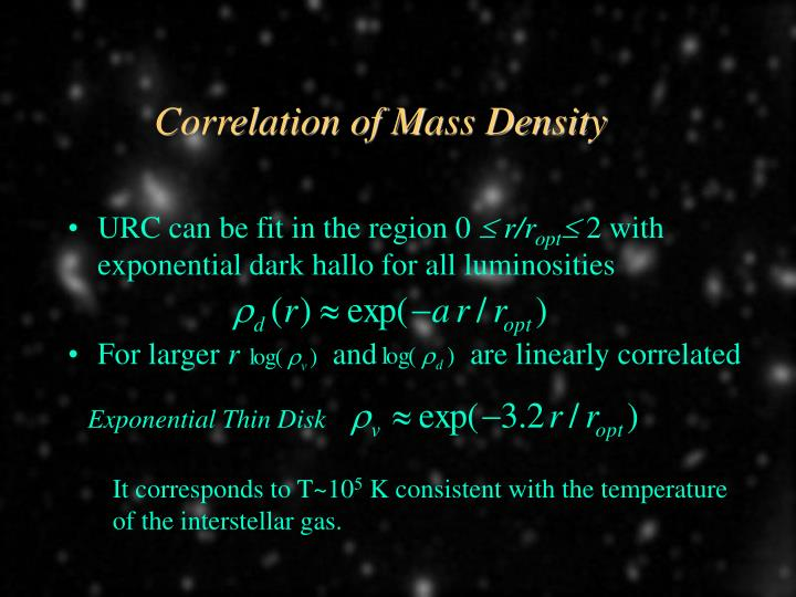 Correlation of Mass Density