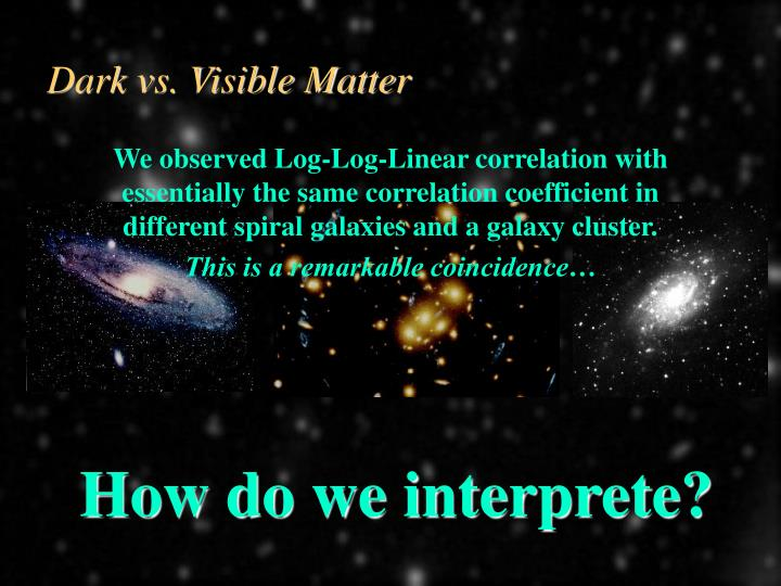 Dark vs. Visible Matter