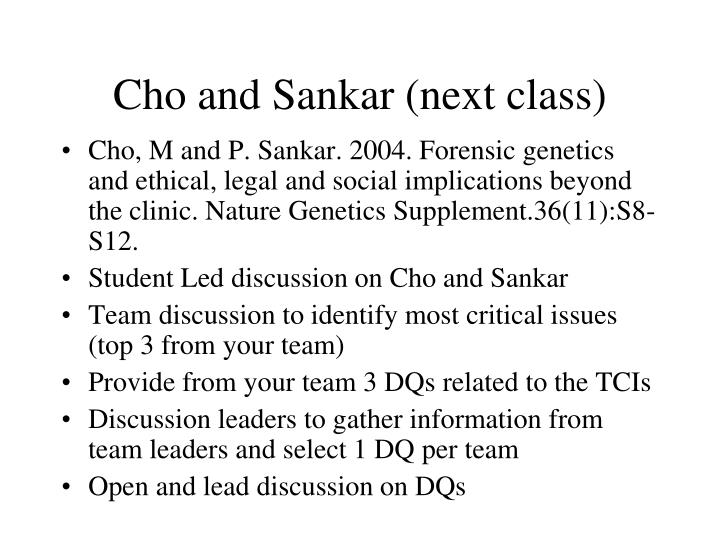 Cho and Sankar (next class)