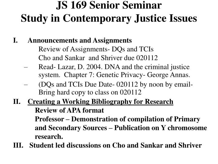 Js 169 senior seminar study in contemporary justice issues