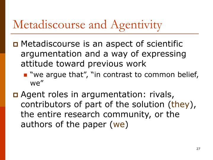 Metadiscourse and Agentivity