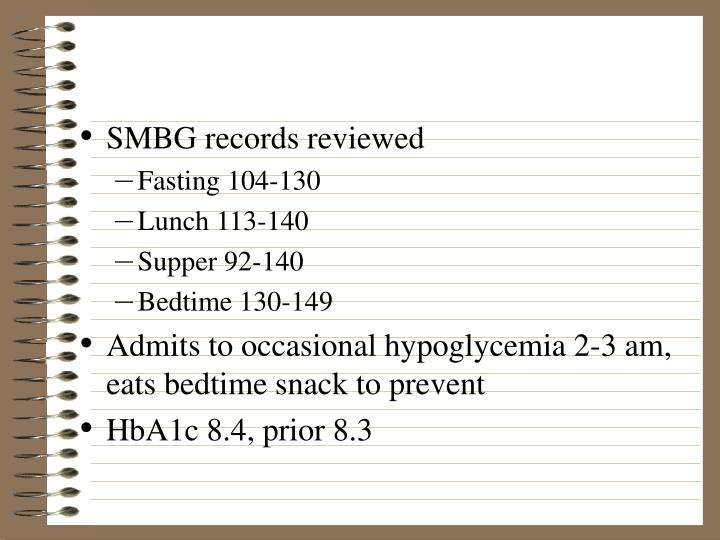 SMBG records reviewed