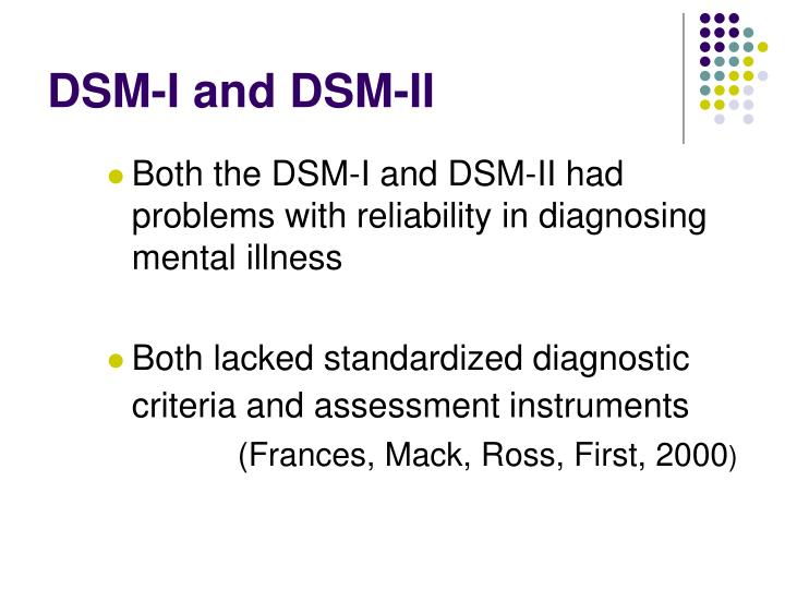 DSM-I and DSM-II