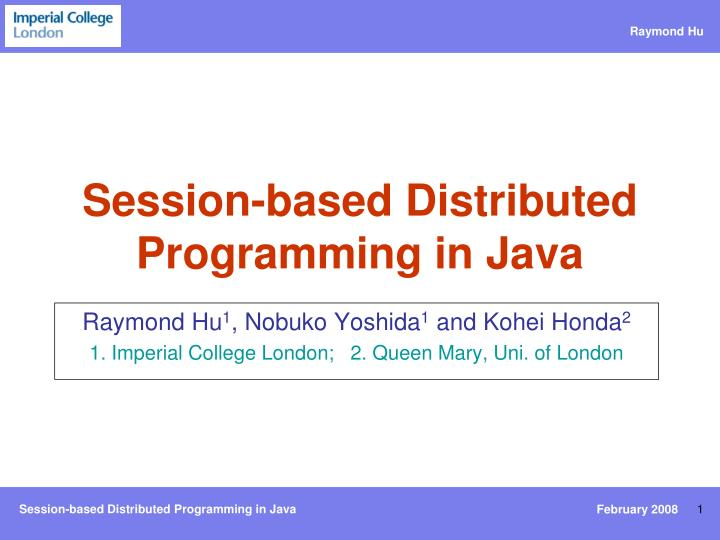 session based distributed programming in java n.