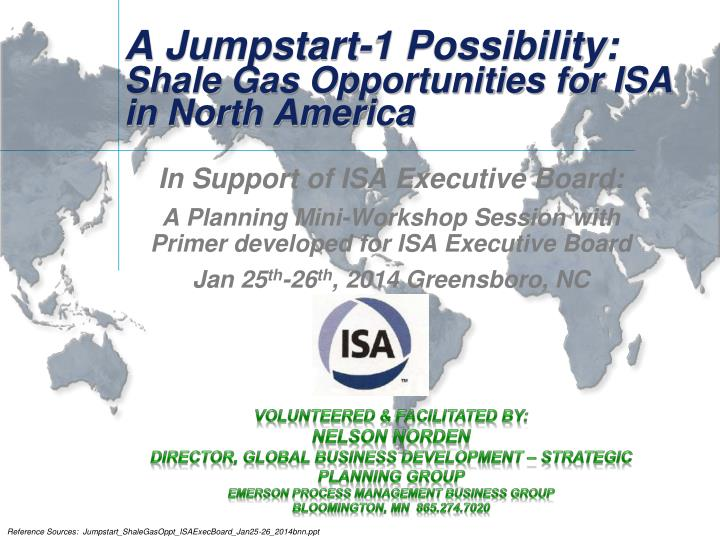 a jumpstart 1 possibility shale gas opportunities for isa in north america